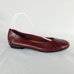 Earth 8.5B Red Leather Ballet Flats S3-14